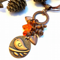 Antique Copper Bird Cluster Charm Necklace, Woodland, Hippie, Gift, Boho