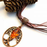 Copper Intertwined Tree Pendant, Glass Bead, Earthy, Hippie, Woodland.