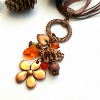 Antique Copper Flower Cluster Charm Necklace, Rustic, Hippie,  Boho, Woodland.