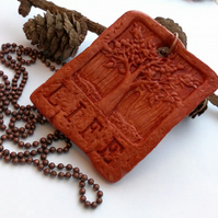 Rustic Tree Of Life Terracotta Clay Pendant, Earthy, Hippie, Boho, Woodland.