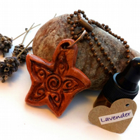 Essential Lavender Oil Diffuser with a Ceramic Rustic Flower Pendant. A3