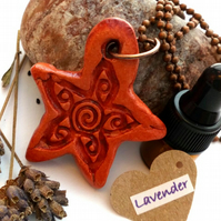 Essential Lavender Oil Diffuser with a Ceramic Rustic Flower Pendant. A4