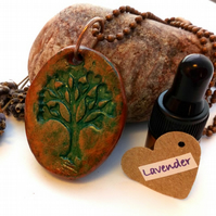 Essential Lavender Oil Diffuser with a Ceramic Tree of Life Heart  Pendant. A2