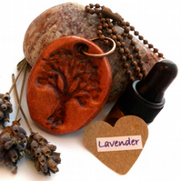 Essential Lavender Oil Diffuser with a Ceramic Tree of Life Heart Pendant. A14