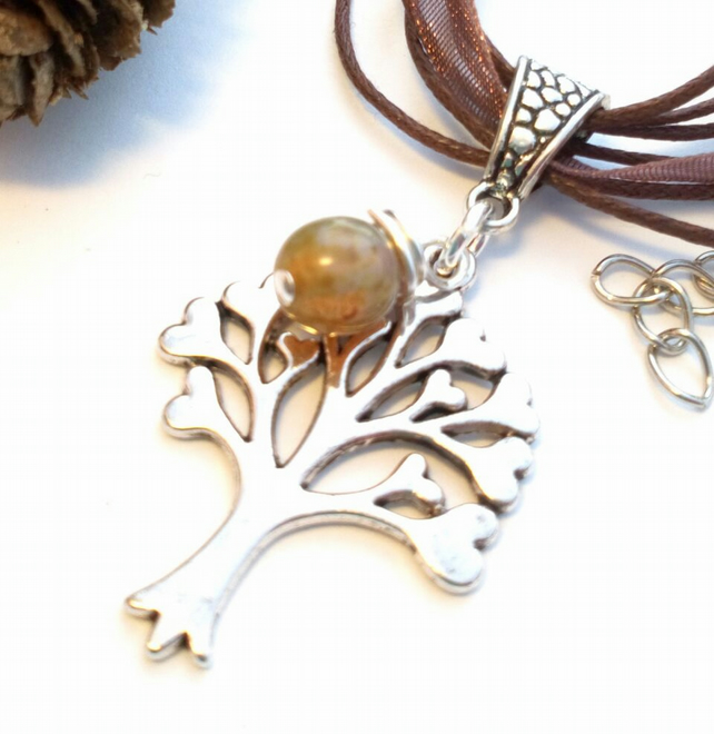 Tree of Life Heart Pendant, Glass Bead, Earthy, Hippie, Boho, Woodland.