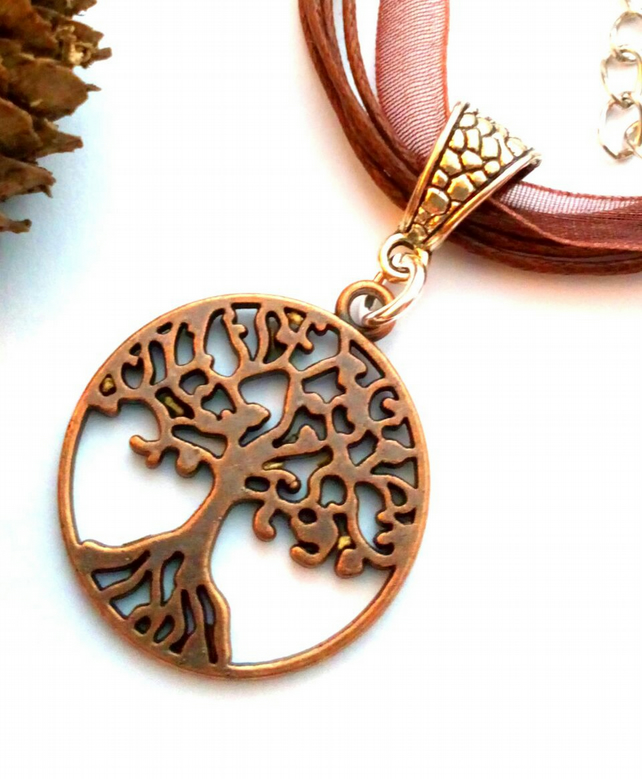 Copper Tree of Life Pendant, Organza Ribbon, Earthy, Hippie, Boho, Woodland.