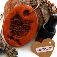 Essential Lavender Oil Diffuser with a Ceramic Rustic Owl Pendant. A12