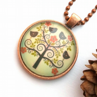 Swirling Tree and Bird Pendant, Glass Cabochon, Earthy, Hippe Rustic, Woodland