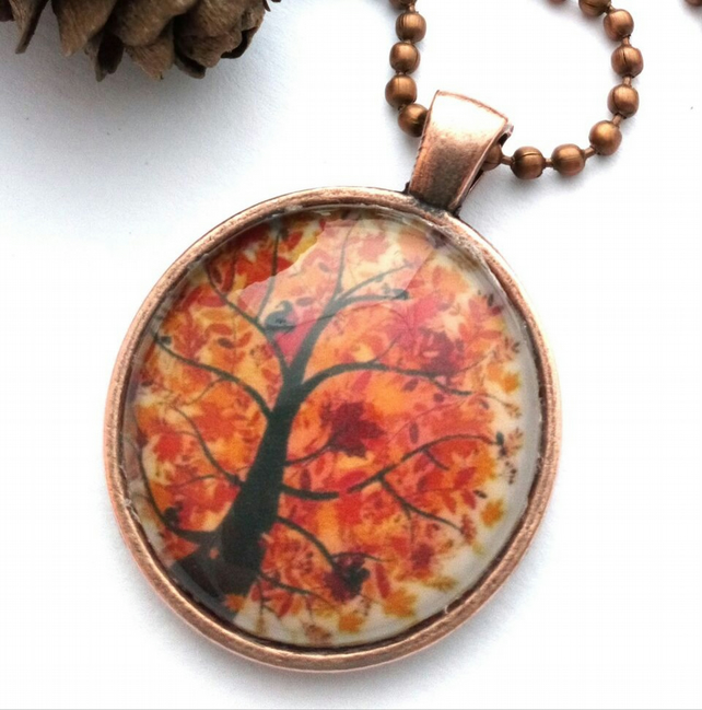 Autumnal Tree Pendant, Glass Cabochon, Earthy, Hippe, Rustic, Woodland
