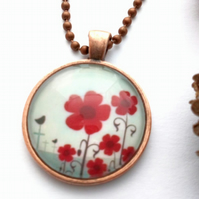 Flower and Bird Pendant, Glass Cabochon, Earthy, Hippe, Rustic, Woodland