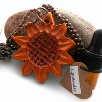 Essential Lavender Oil Diffuser with a Ceramic Rustic Sunflower Pendant A17
