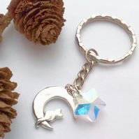 Cat Sitting on the Moon Keyring or Handbag Charm, Earthy, Hippie, Woodland.
