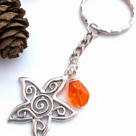 Flower Keyring or Handbag Charm, Burnt Orange, Earthy, Hippie, Boho, Woodland.