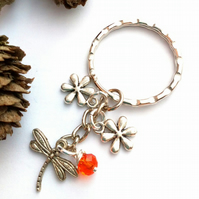 Dragonfly Keyring or Handbag Charm, Burnt Orange, Earthy, Rustic, Woodland.