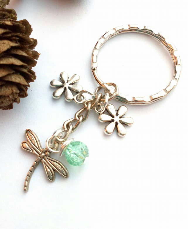 Dragonfly Keyring or Handbag Charm, Cracked Bead, Earthy, Rustic, Woodland.