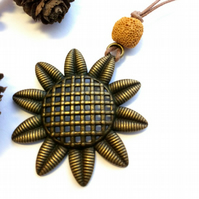 Rustic Sunflower Pendant Necklace,  Woodland, Nature. Boho.