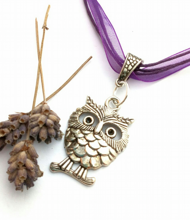 Purple Owl Charm, Rustic, Hippie, Gift, Ornament, Boho, Woodland.