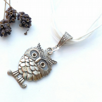 White Owl Charm, Rustic, Earthy, Hippie, Gift, Boho, Woodland.