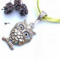 Lime Green Owl Charm, Rustic, Earthy, Hippie, Gift, Boho, Woodland.