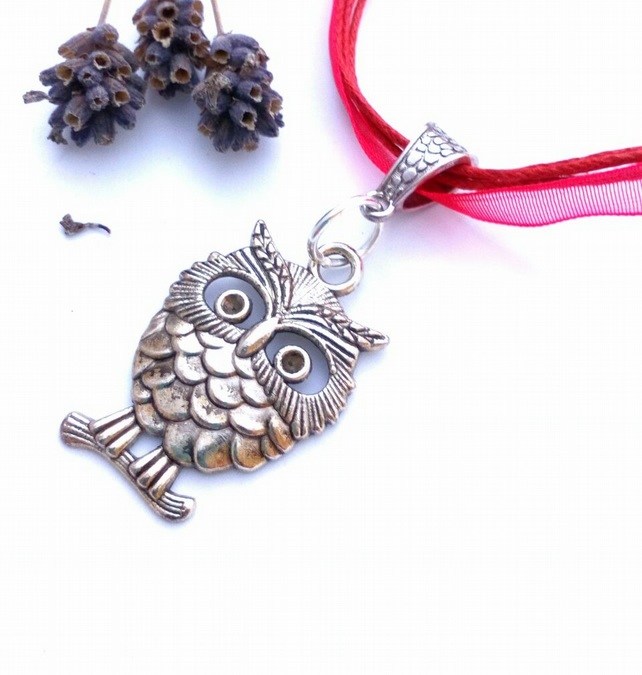 Red Owl Charm, Rustic, Earthy, Hippie, Gift, Woodland.