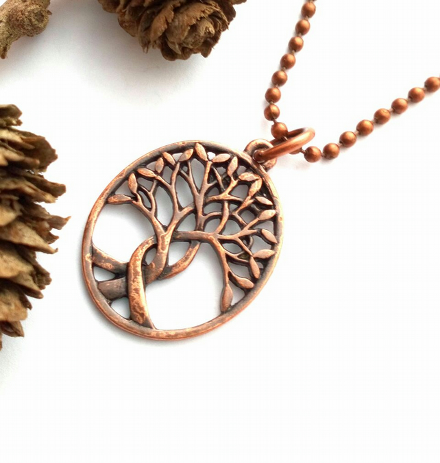 Copper Intertwined Tree Pendant Chain, Earthy, Hippie, Boho, Woodland.