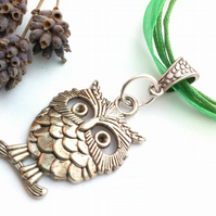Forest Green Owl Charm, Rustic, Earthy, Hippie, Gift, Boho, Woodland.