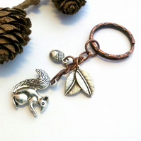 Squirrel Keyring or Handbag Charm, Earthy, Hippie, Rustic, Woodland.