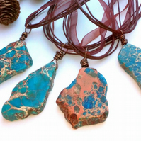 Blue Jasper Gemstone Pendant, Organza Ribbon, Earthy, Hippie, Boho, Woodland.