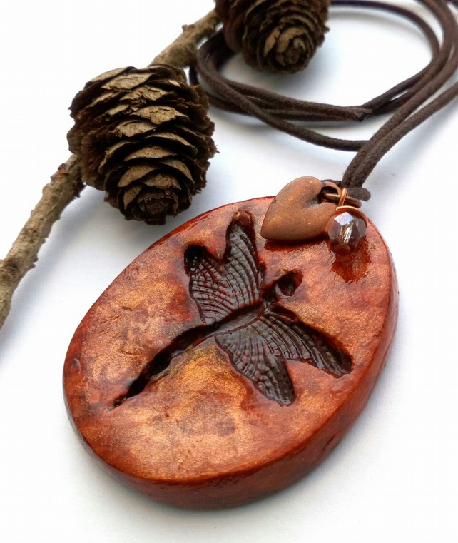 Rustic Dragonfly Ceramic Pendant. Hippie, Boho, Woodland, Earthy, Nature.