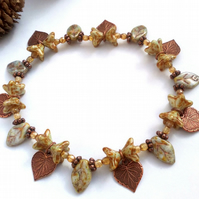 Autumn Leaf  and Flower Bracelet, Earthy, Hippie,  Boho, Woodland.