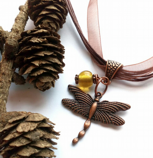 Dragonfly Pendant, Yellow Glass Bead, Earthy, Hippie, Boho, Woodland.