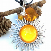 Sun Yellow Glass Cabochon Pendant, Earthy, Hippie, Woodland.