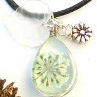 Dried Flower Teardrop Pendants, Glass Necklace, Earthy, Hippie, Woodland.
