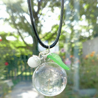 Real Dandelion Glass Pendant, Dome Glass, Earthy, Hippie, Woodland.