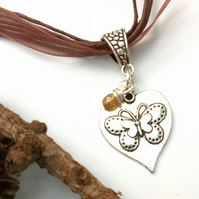 Butterfly Necklace, Organza Ribbon. Nature, Woodland, Hippie, Boho