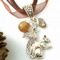Squirrel Pendant, Organza Ribbon, Earthy, Hippie, Boho, Woodland.