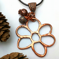 Copper Daisy Pendant, Earthy, Hippie, Boho, Woodland.
