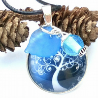 Blue Tree of Life Glass Cabochon Pendant,  Earthy, Hippie, Woodland.