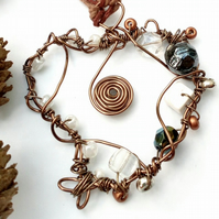 Rustic Copper Wire Heart Pendant, Earthy, Hippie, Boho, Woodland.