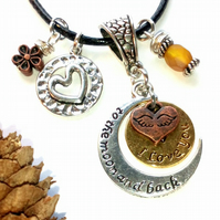 'I Love You' Charm Necklace, Earthy, Hippie, Woodland.