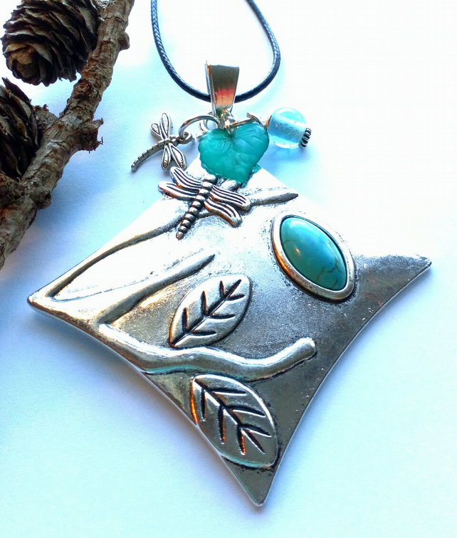 Dragonfly Tree of Life Blue Silver Pendant, Earthy, Hippie, Woodland.