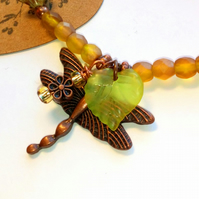 Yellow Dragonfly Bracelet, Earthy, Hippie, Boho, Woodland.
