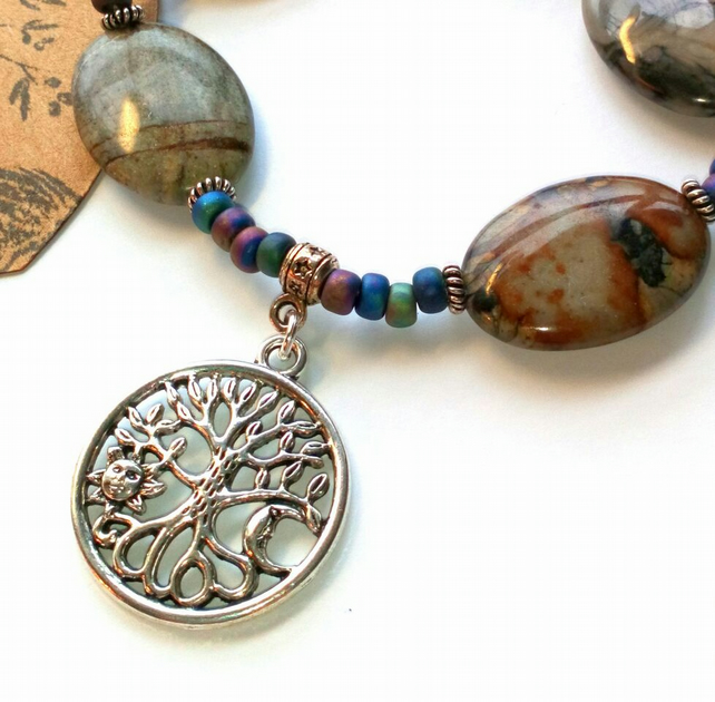 Stretchy Four Seasons Bracelet, Earthy, Hippie, Boho, Woodland.
