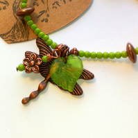 Green Dragonfly Bracelet, Earthy, Hippie, Boho, Woodland.