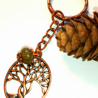 Intertwined Tree Keyring or Handbag Charm, Forest Green, Earthy, Woodland.