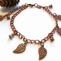 Leaf and Bell Flower Bracelet,  Earthy, Hippie, Rustic, Woodland
