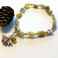 Bumble Bee and Agate Gemstone Bracelet, Earthy, Hippie, Boho, Woodland.