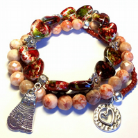 Bohemian Pink Red Glass Bracelet with Cat Charm, Rustic, Earthy, Woodland