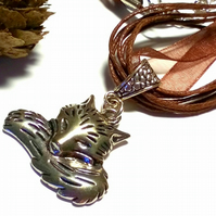 Fox Tail Charm Necklace, Organza Ribbon, Earthy, Hippie, Boho, Woodland.
