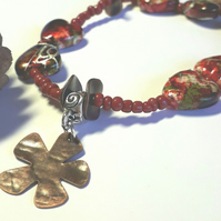 Red Heart Bracelet with Daisy Charm, Earthy, Hippie, Boho, Woodland.